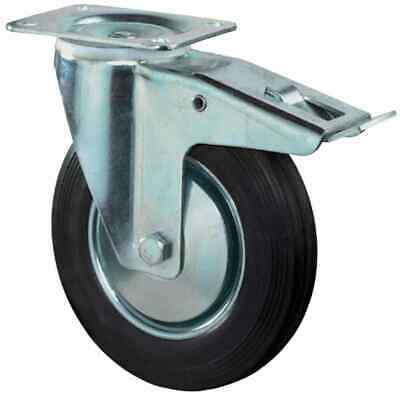 Castors Rubber 160mm with Locking 138x110mm 135kg Carrying Capacity Reel Wheels