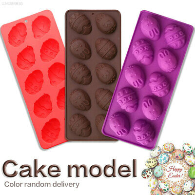 E207 Nontoxic 10-Cavity Easter Cake Mold Egg Shape Mold Bunny Silicone Tool Food