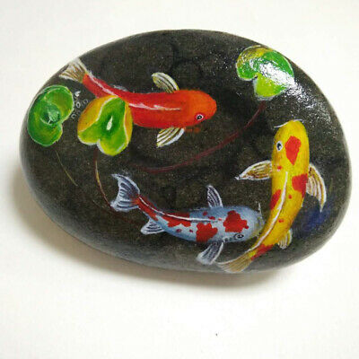 koi fish Hand Painted at River Rock Personality Creative Gifts Stone Art