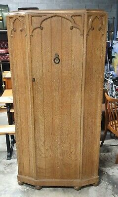 Vintage Art Deco Limed Oak Hall Robe / Single Wardrobe   Delivery Available