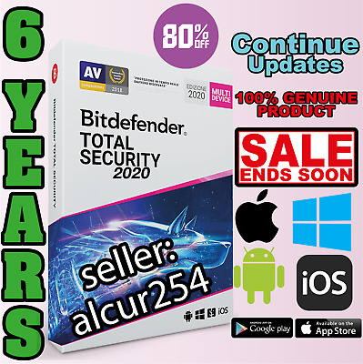 Bitdefender Total Security 2020 - 6 Years Win Mac 1 Devices Activation Download