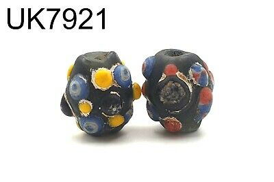 2Rare Phoenician Mix Color Stratified Multi EYE Islamic Mosaic Glass Bead #7921c
