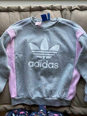 Girls Adidas Tracksuit Jumper & Leggings Pink & Grey Age 11-12