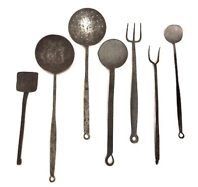 LOT of 7 ANTIQUE Primative HAND Forged WROUGHT IRON Ladle Fork Spatula UTENSILS