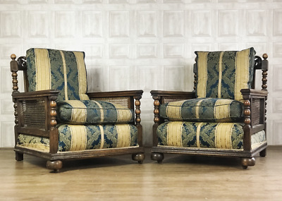 STUNNING Pair Of Carved Oak Antique Bergere Chairs - Suite c.1900 *£65 DELIVERY*