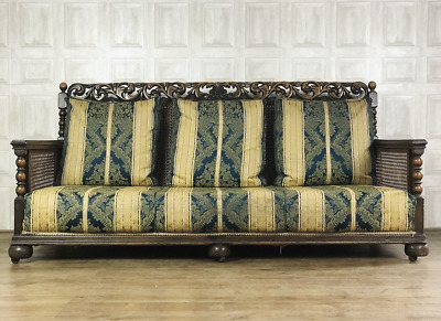 STUNNING Carved Oak Antique Bergere Sofa 3 Seater - c.1900 Suite *£80 DELIVERY*