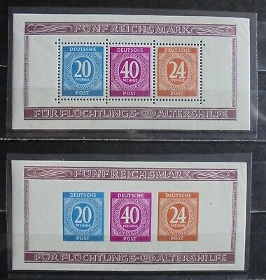 ALLIED OCCUPATION 1946 Numeral Issue, Perf & Imperf 2 Mini-Sheets MNH