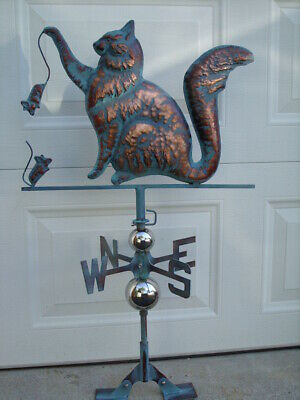 Cat Weathervane Antiqued Copper Finish Kitten Mouse Weather Vane HandCrafted