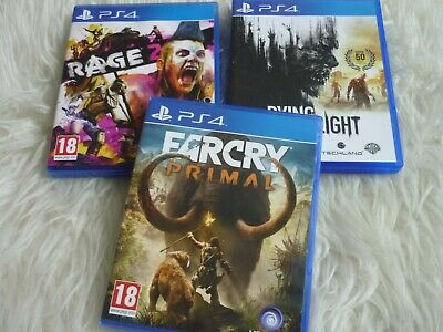 job lot bundle ps4 games Rage + Farcry primal + Dying light pegi 18 All mint