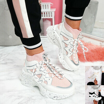 Womens Ladies Lace Up Sock Chunky Sole Sneakers Party Women Trainers Shoes
