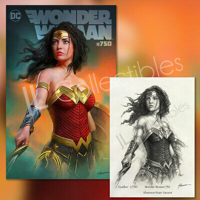 🔥 Wonder Woman #750 Exclusive Shannon Maer Variant DC with Sketch COA NM!