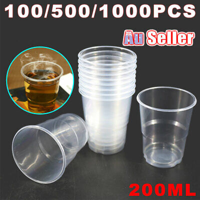 200ml BULK Party Disposable Drinking Water Cup Plastic Cups  Reusable Clear ACB#