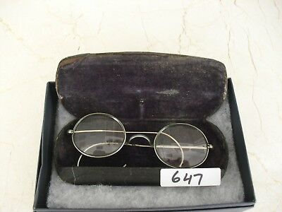 Antique Wire Round Reading Glasses Collection case 1870 Harry Potter Vintage 647