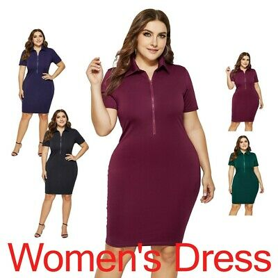 New Solid Color Lapel Short Sleeve Sexy Zip Midi Plus Size Loose Women's Dress