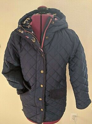 Joules GB Navy Blue Quilted Rain Jacket Size Girls Horses Jacket 9-10 Years