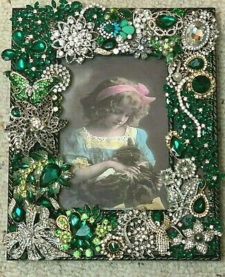 Vintage to Modern Rhinestone Jewelry Hand Decorated Picture Frame One-of-a-Kind