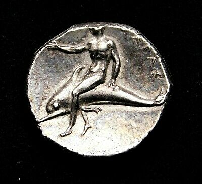 Calabria Taras. Superb Didrachm circa 302-280 BC. Ancient Greek Silver Coin.