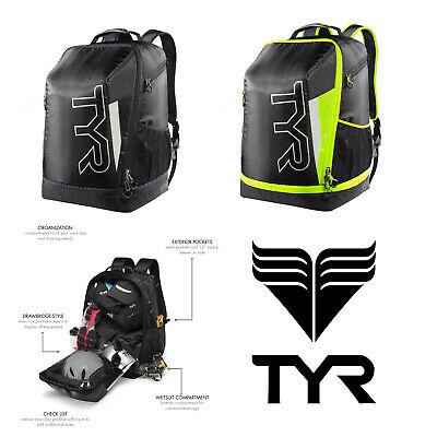 Tyr Apex Backpack Black Silver Triathlon Kit Bag 40 Litre