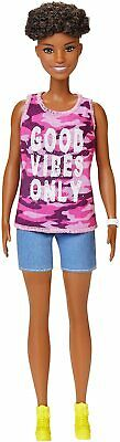 """Barbie Fashionistas Doll with Short Curly Brunette Hair Wearing """"Good Vibes Onl"""