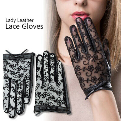 Sexy Lace Short Wrist Gloves Leather Lace Gloves Women Touchscreen Driving Glove