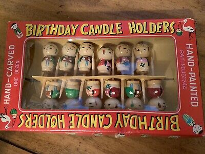 12 Vintage Hand-Carved Hand-painted Wooden Birthday Candle Holders Asian