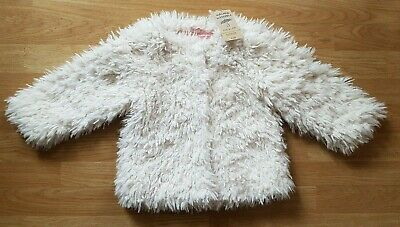 BNWT Girls' Cream Fluffy Shaggy Faux Fur Short Jacket Coat, Age 2-3 Years