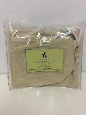 Pottery Barn Kids Cotton Toy Storage Bags, Set Of 3, New In Package