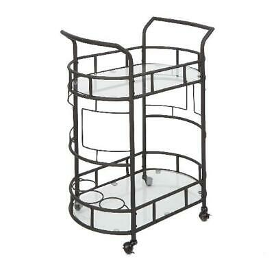 Rolling Serving Cart With Wheels Kitchen Trolley Bar Drink Bar 2 Tier Glass Home