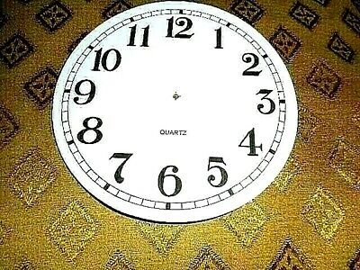 "Round Quartz Paper (Card) Clock Dial - 5"" M/T - Arabic - GLOSS WHITE - Parts"