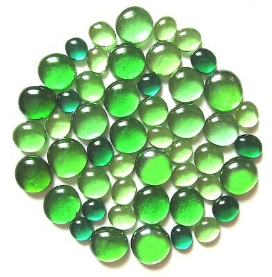 50 x Forests of Green Art Glass Mosaic Craft Pebbles Gem Stones - Assorted Sizes