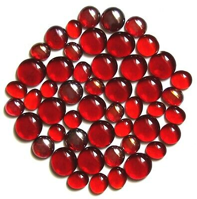 50 x Shades of Red Summer Berries Glass Mosaic Pebble Gem Stones Assorted Sizes