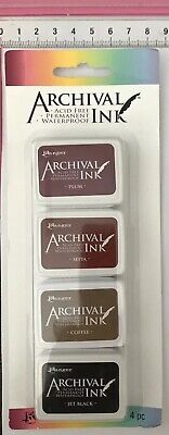 4 x Archival Ranger Acid Free Permanent Waterproof Mini Ink Pads ~ KIT #2