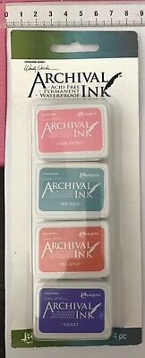 4 x Archival Ranger Acid Free Permanent Waterproof Mini Ink Pads ~ KIT #3