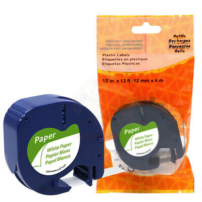 Dymo LetraTag 91330 Compatible Adhesive Paper Label Tape 12mm