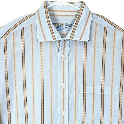 Bugatchi Uomo Mens Shirt XL Long Sleeve Multicolor Striped Embroider