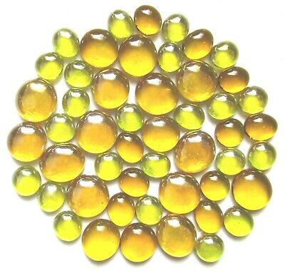 50 x Shades of Yellow Happiness Glass Mosaic Pebble Gem Stones Assorted Sizes