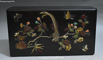 Chinese Ebony Wood Inlay Shell Jade Magpie Lotus Jewelry Box Casket Boxes Statue