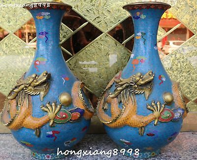 "18"" Marked Cloisonne Enamel Gold Gilt Dragon Loong Vase Bottle Jar Jug Pot Pair"