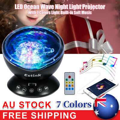 7 Color Ocean Wave Starry Sky LED Night Light Projector Lamp Novelty Gift AU