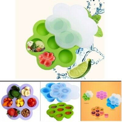 Silicone Egg Bite Mold Instant Baby Food Storage Container Freezer Tray with Lid