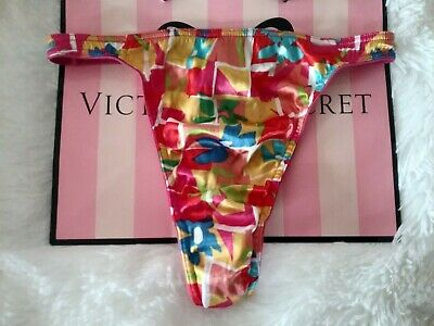 Victoria Secret vintage second skin satin thong panties rare floral geo glossy M