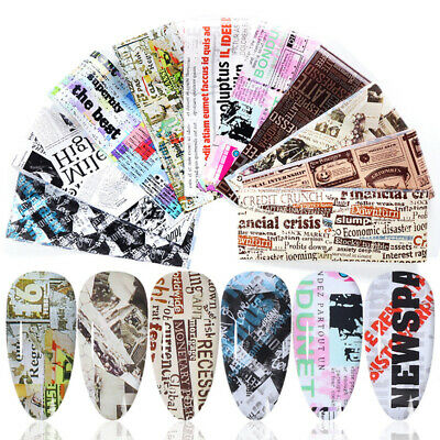 10Sheets/Pack Newspaper Nail Art Foils Transfer Stickers Wraps Decal Tips DIY