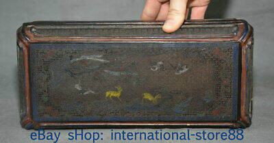 "10.4"" Old Chinese Wood Lacquerware Dynasty Palace Deer Crane Tree Jewelry Box"
