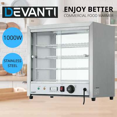 Devanti Commercial Food Warmer Pie Hot Display Showcase Stainless Steel Cabinet