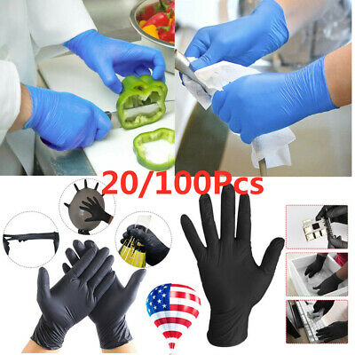 20/100X Disposable Rubber Gloves Blue Medical gloves Nitrile latex Thin Gloves A