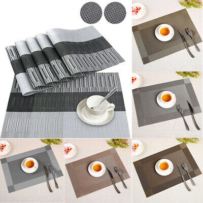 Set Of 6 PVC Placemats And Coasters Dining Table Placemats Non-Slip Washable UK
