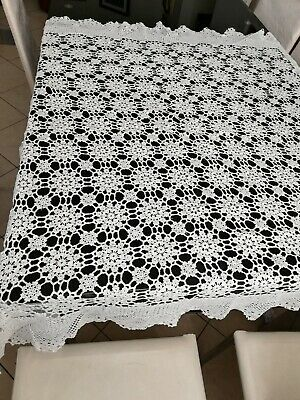 Vintage Handmade White Crochet Rectangle Tablecloth 135cm by 125cm