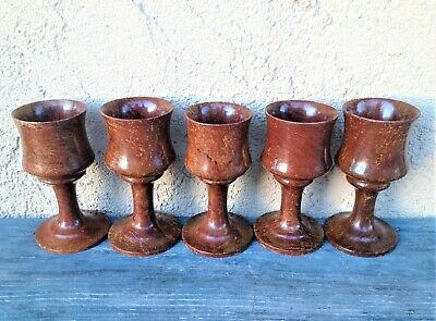 Set Of 5 Turned Wood Redwood Burl Footed Cups Goblets Chalices, Mid Century