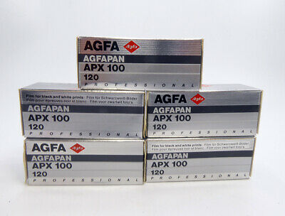 Agfa Agfapan Apx 100 120 Camera Film Sealed 5 Rolls Exp 07/1994