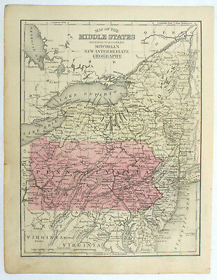Pennsylvania Original Antique 19c Mitchell's Geography Atlas Engraved State Map